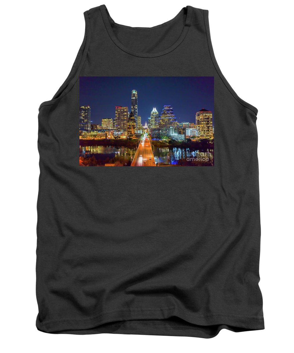 Austin Tank Top featuring the photograph Texas Capital Skyline After Dark by Tod and Cynthia Grubbs