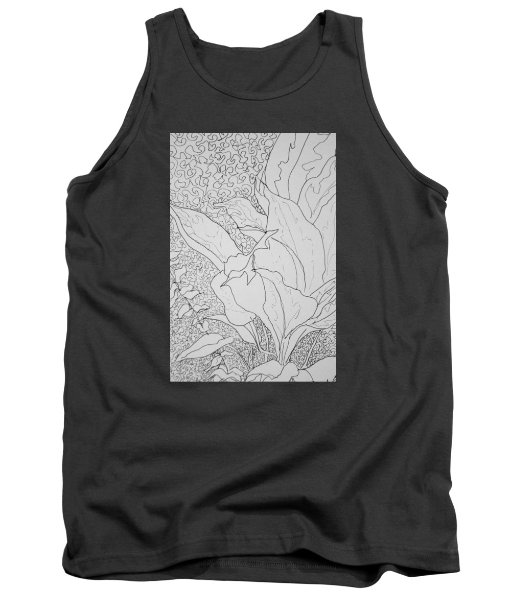 Ink Drawing Tank Top featuring the drawing Texture And Foliage by Dixie Trent