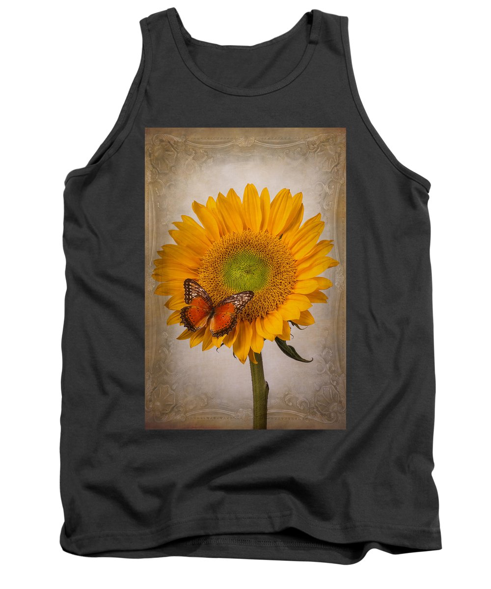 Sunflower Tank Top featuring the photograph Textured Sunflower With Butterfly by Garry Gay