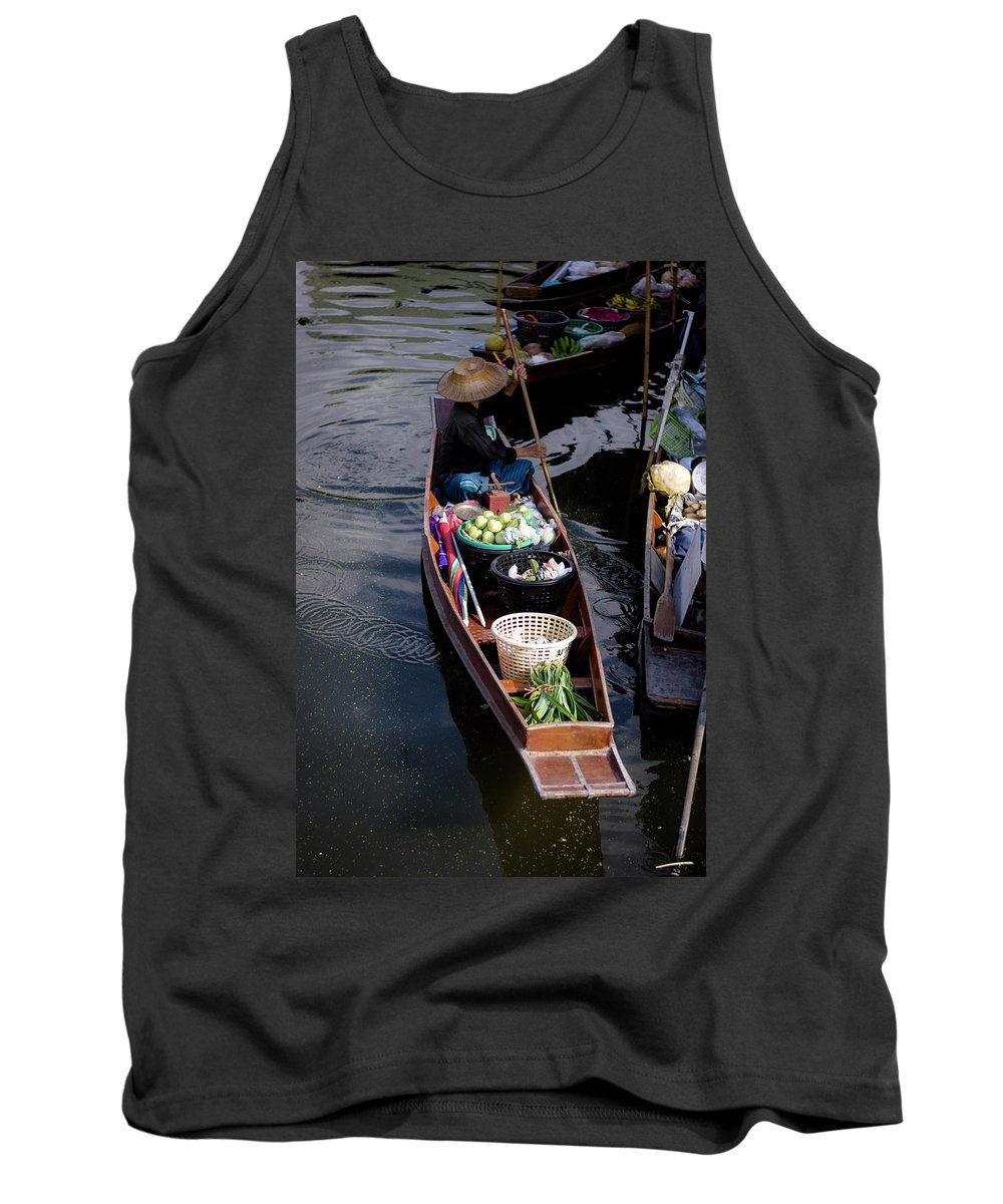 Exotic Tank Top featuring the photograph Thai Floating Village 1 by Jijo George