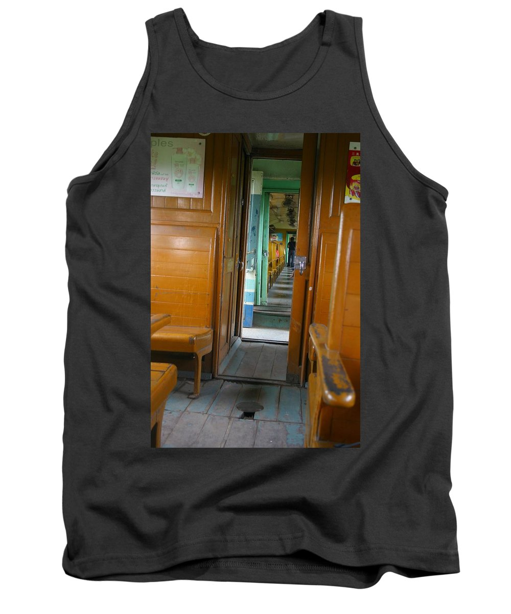 Train Tank Top featuring the photograph Thailand Train by Minaz Jantz