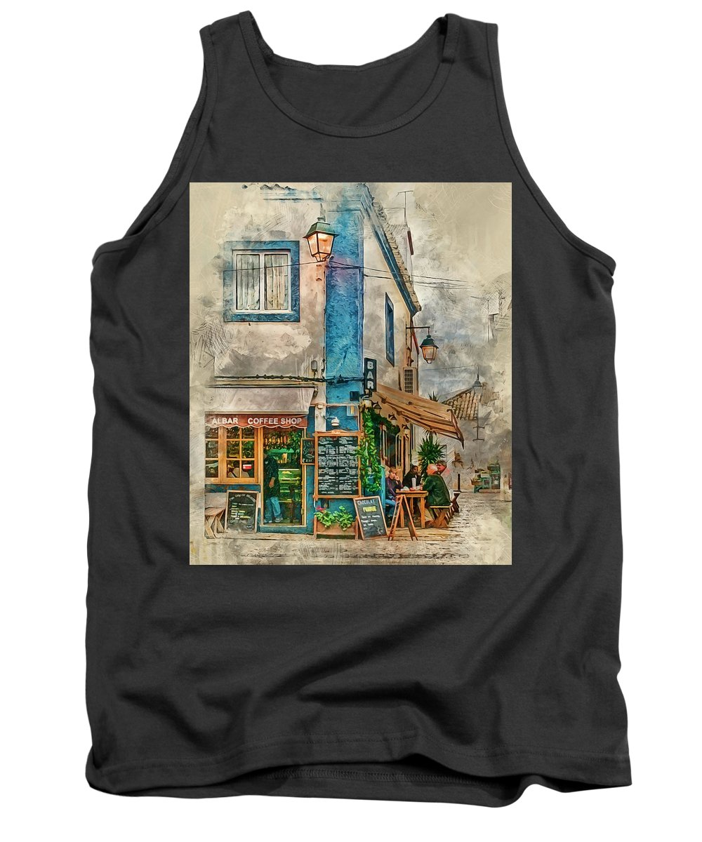 Albar Tank Top featuring the photograph The Albar Coffee Shop In Alvor. by Brian Tarr
