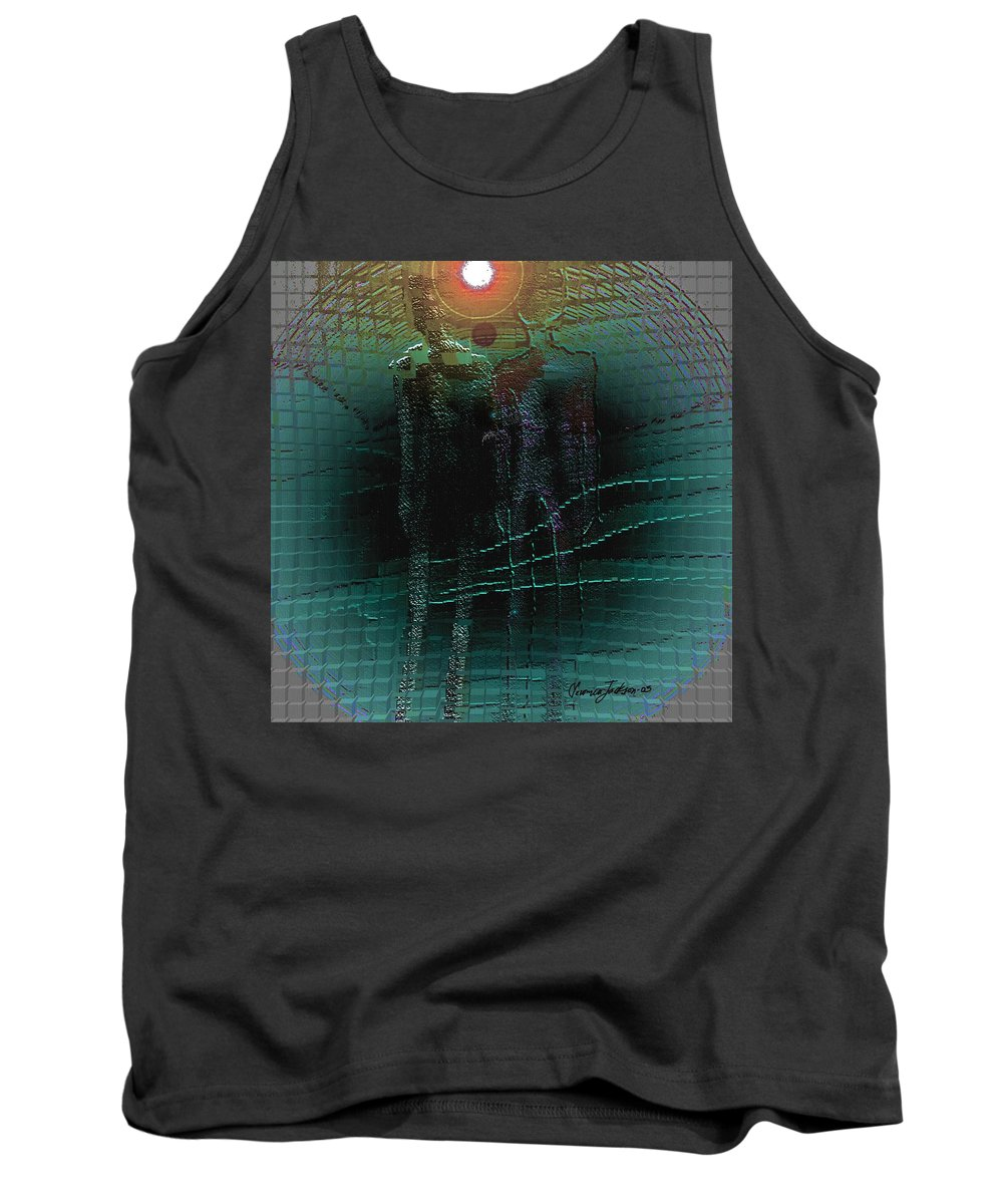 People Alien Arrival Visitors Tank Top featuring the digital art The Arrival by Veronica Jackson