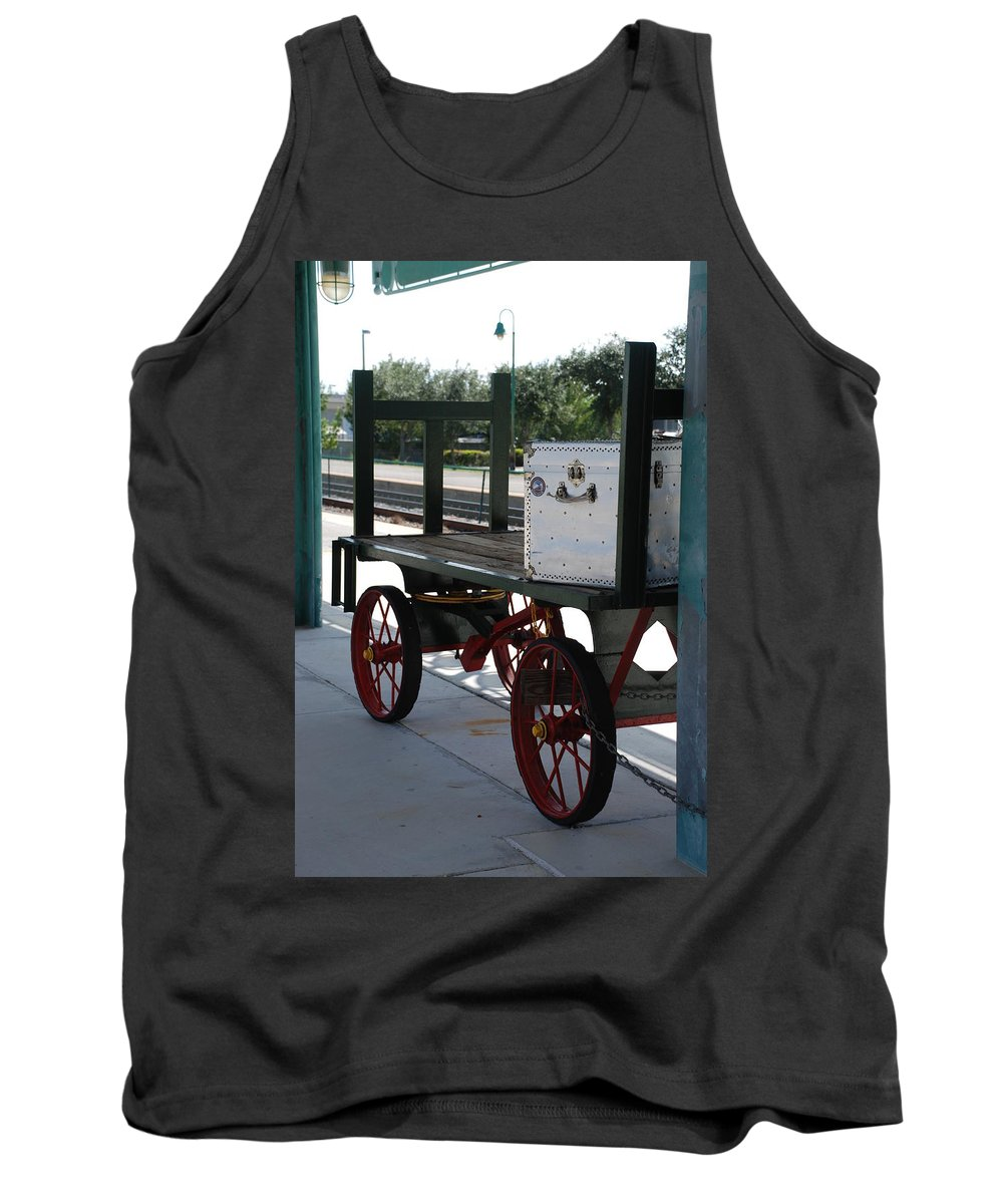 Train Station Tank Top featuring the photograph The Baggage Cart And Truck by Rob Hans