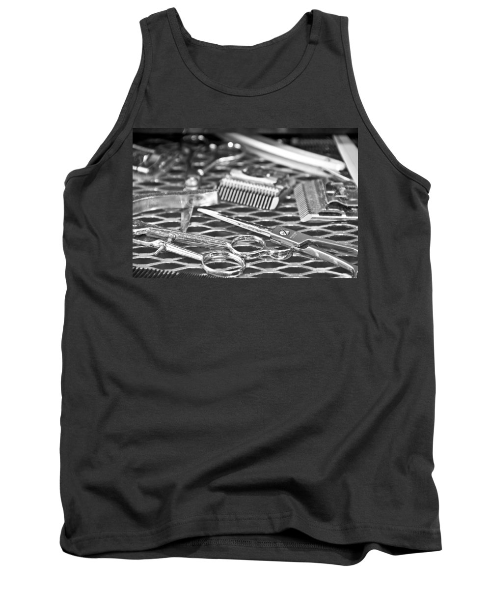 Barber Tank Top featuring the photograph The Barber Shop 10 Bw by Angelina Vick