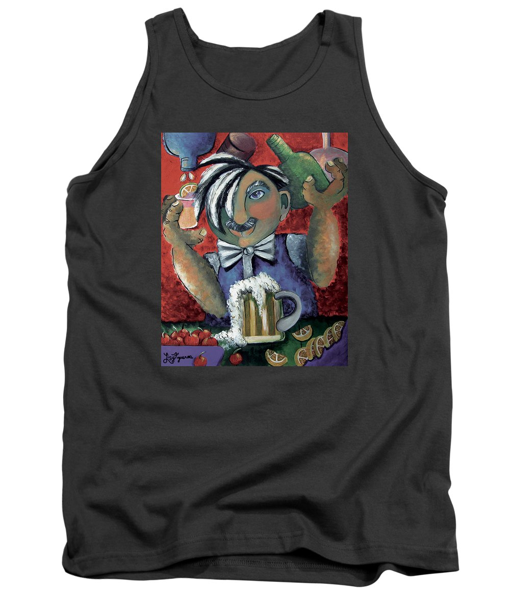 Bartender Tank Top featuring the painting The Bartender by Elizabeth Lisy Figueroa
