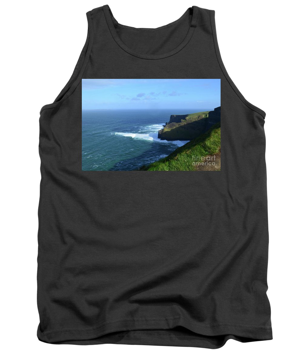 Grass Tank Top featuring the photograph The Beauty Of Ireland's Cliff's Of Moher And Galway Bay by DejaVu Designs