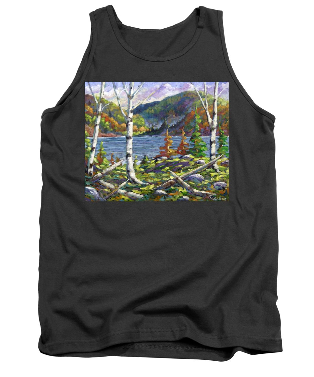 Art Tank Top featuring the painting The Birches by Richard T Pranke