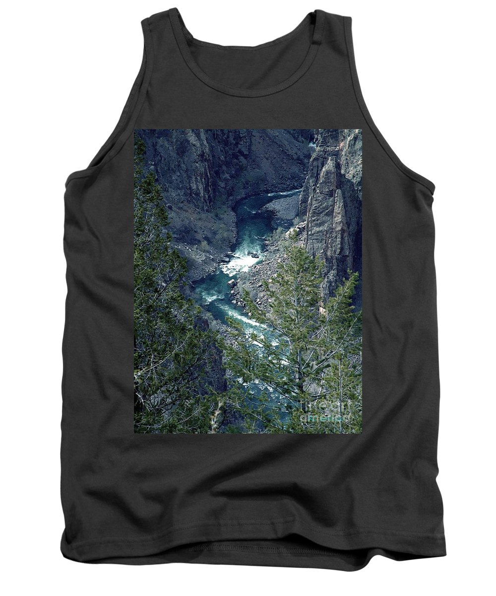 Canyon Tank Top featuring the painting The Black Canyon Of The Gunnison by RC DeWinter