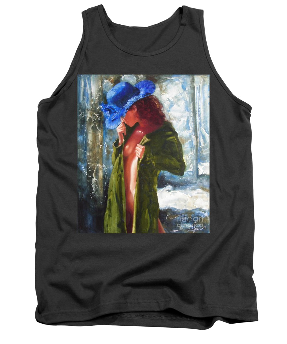 Art Tank Top featuring the painting The Blue Hat by Sergey Ignatenko