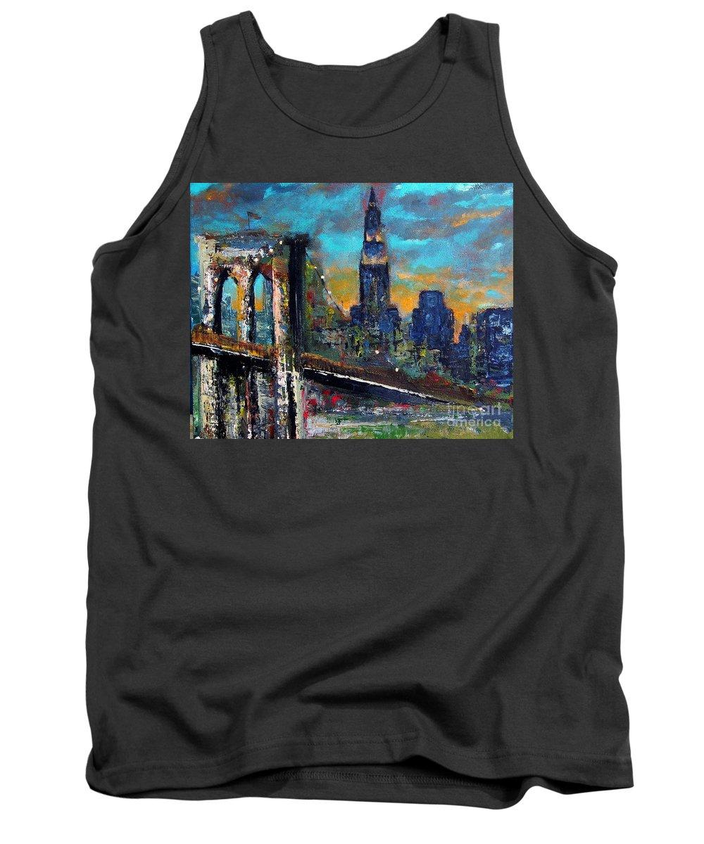 Bridges Tank Top featuring the painting The Brooklyn Bridge by Frances Marino