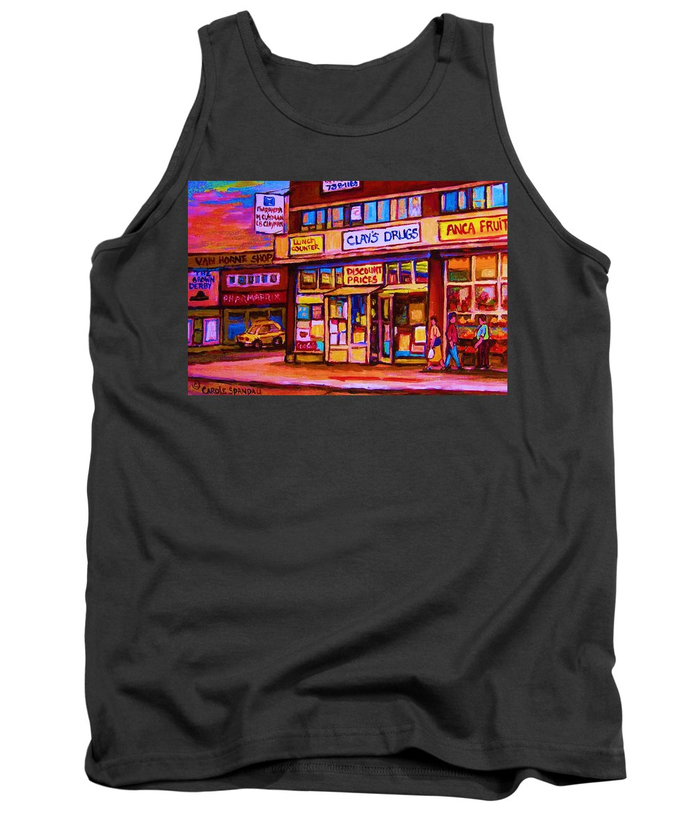 Montreal Tank Top featuring the painting The Brown Derby by Carole Spandau