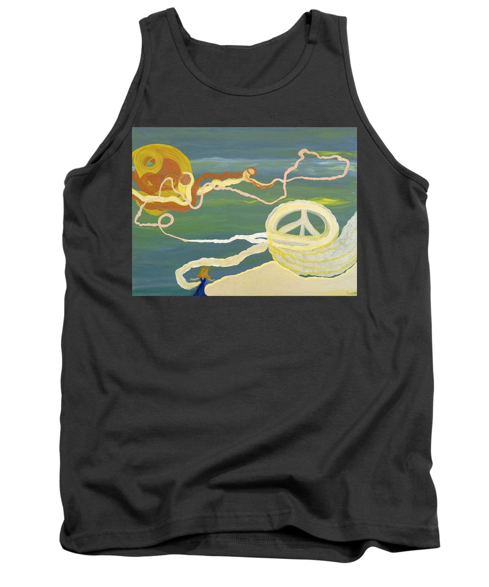 Surreal Image Tank Top featuring the painting The Burden Of Truth by Sara Credito