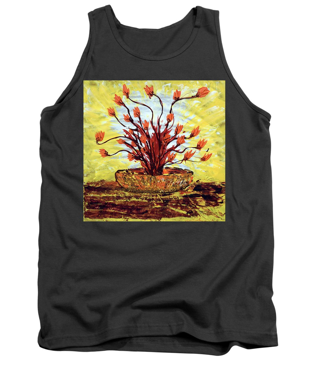 Red Bush Tank Top featuring the painting The Burning Bush by J R Seymour