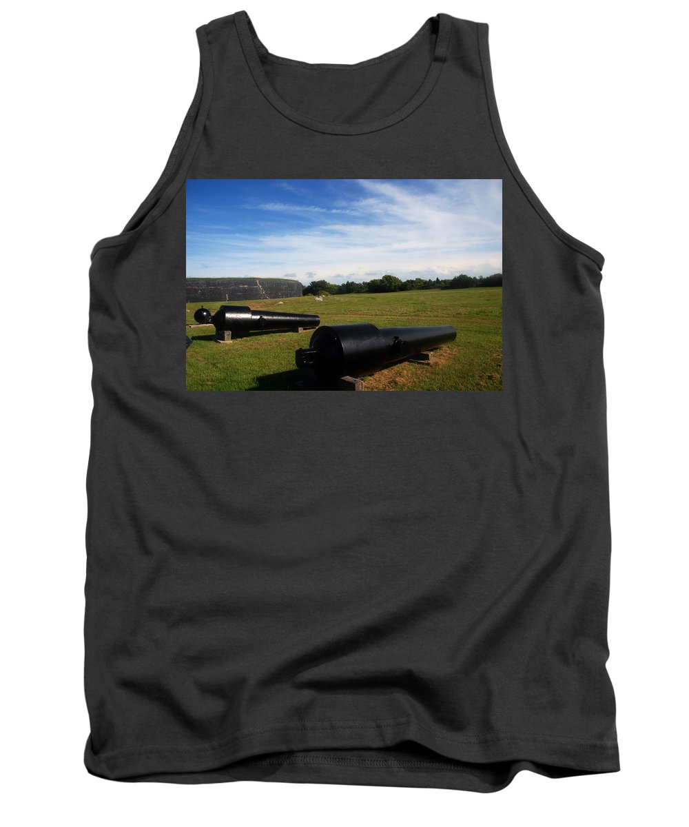Photography Tank Top featuring the photograph The Cannons At Fort Moultrie In Charleston by Susanne Van Hulst