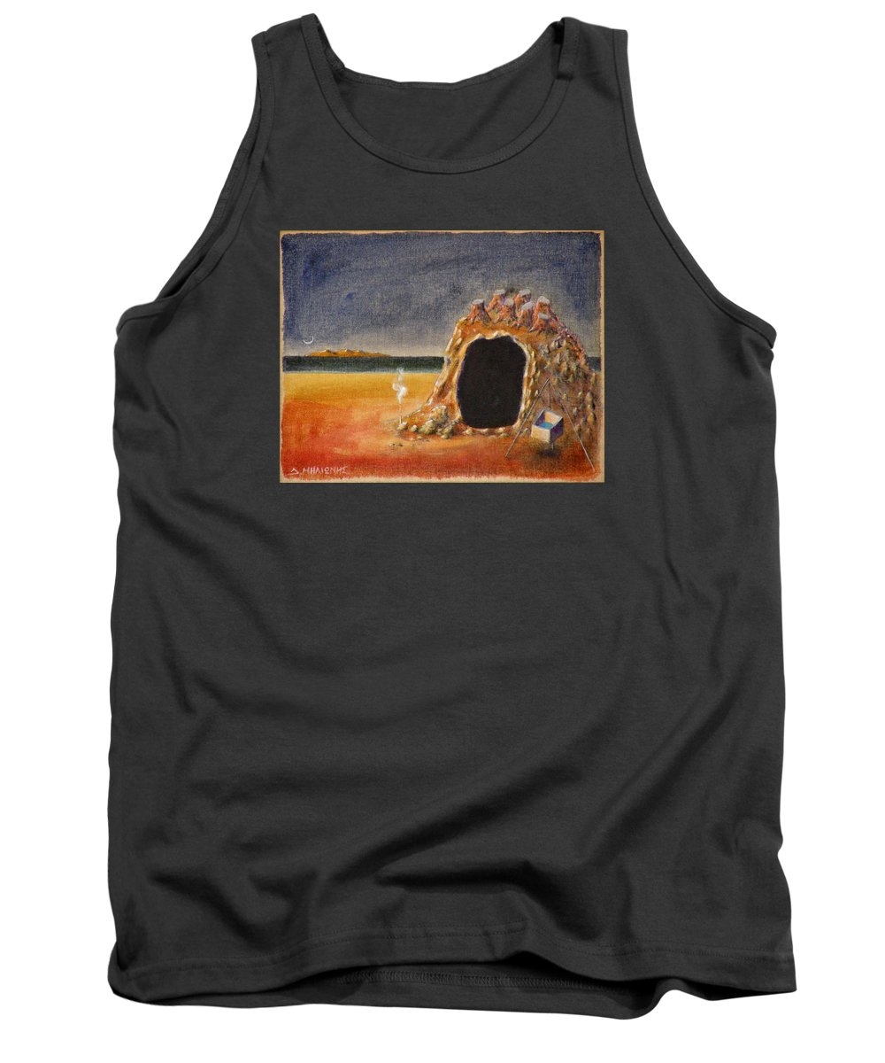 Metaphysacal Tank Top featuring the painting The Cave Of Orpheas by Dimitris Milionis