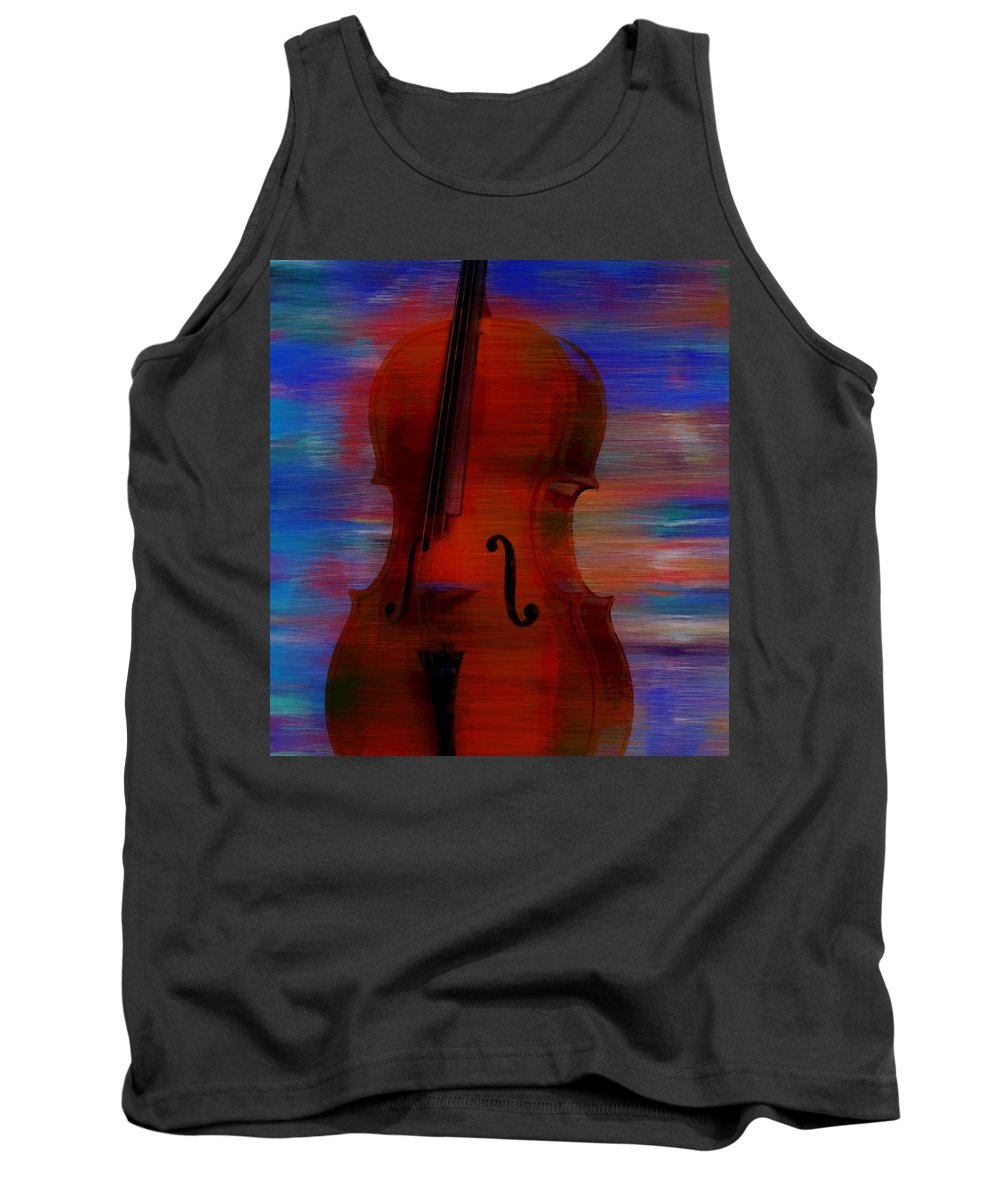 The Cello Tank Top featuring the painting The Cello by Dan Sproul