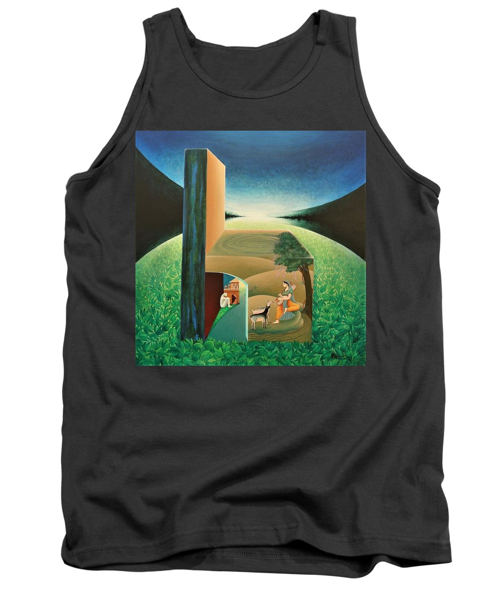 Romantic Tank Top featuring the painting The Chair - A by Raju Bose