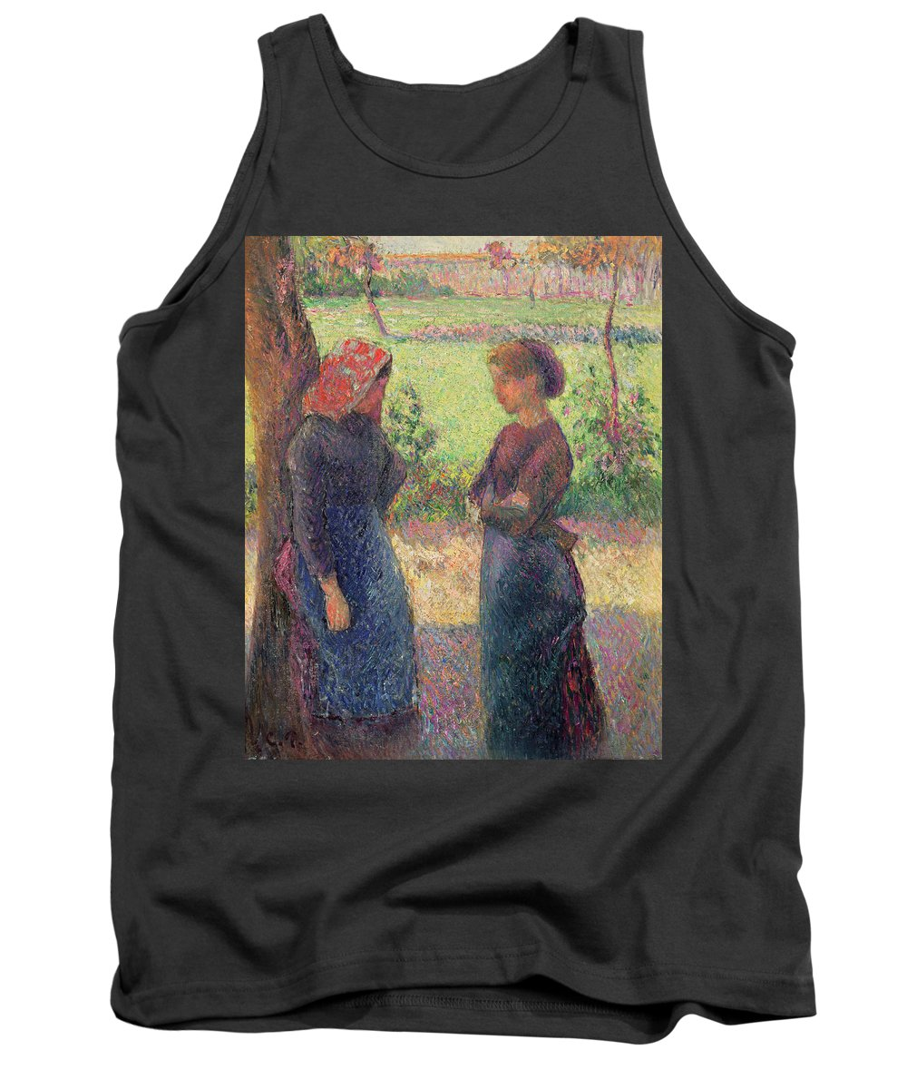 The Tank Top featuring the painting The Chat by Camille Pissarro