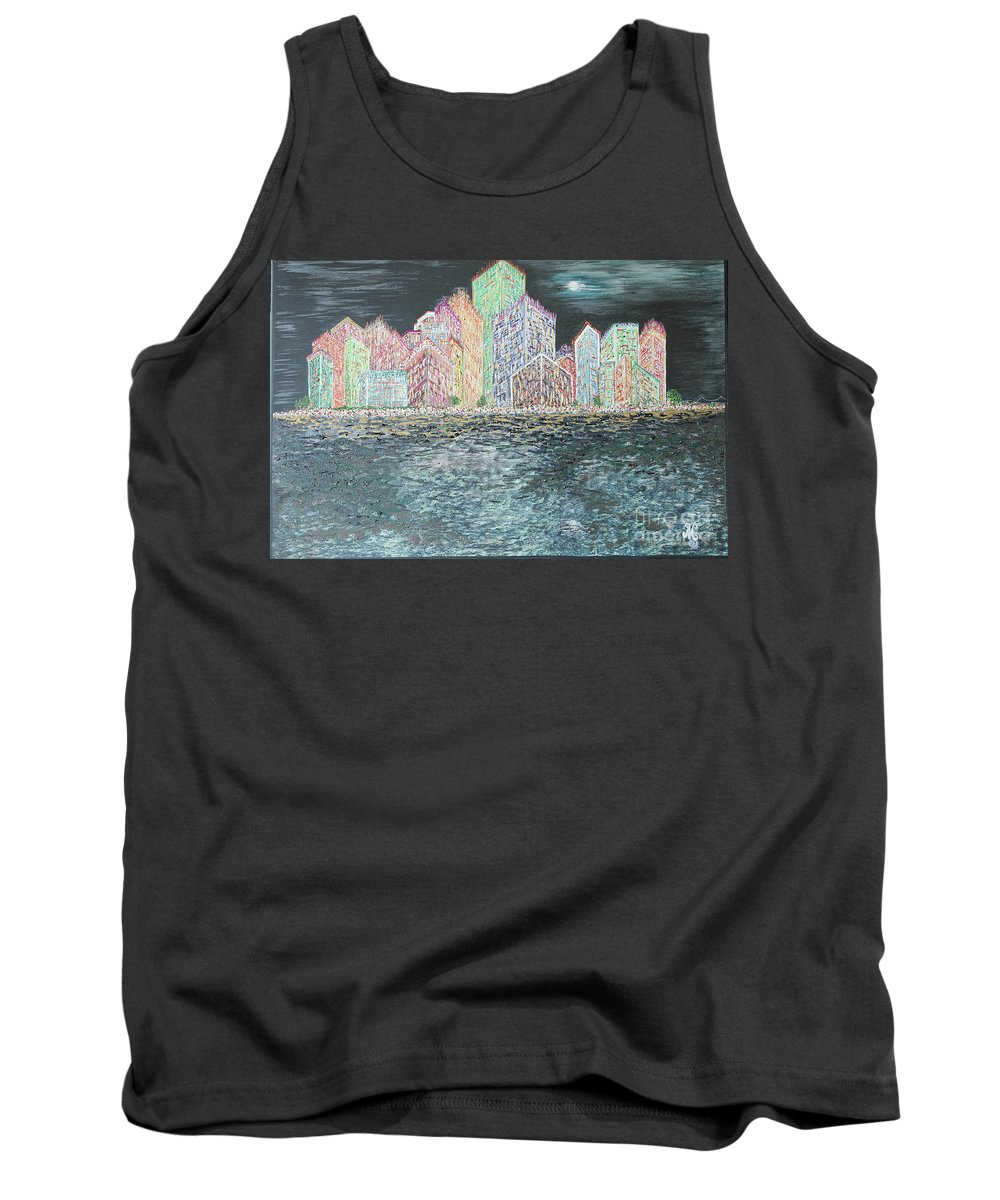 New York City Tank Top featuring the painting The City That Never Sleeps by Mary Shawn Newins
