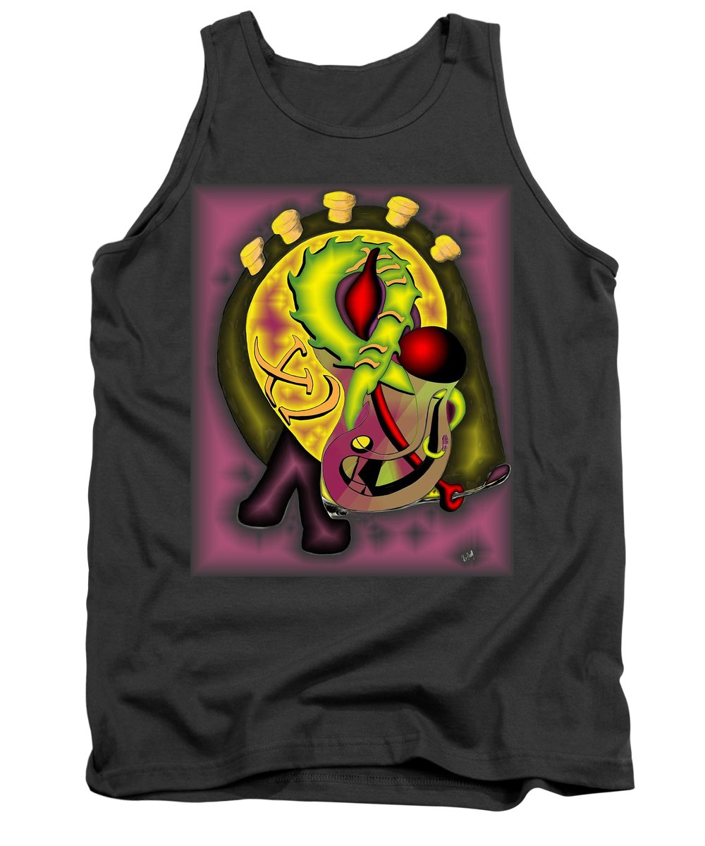 'the Clock Ii' Tank Top featuring the digital art The Clock II by Helmut Rottler