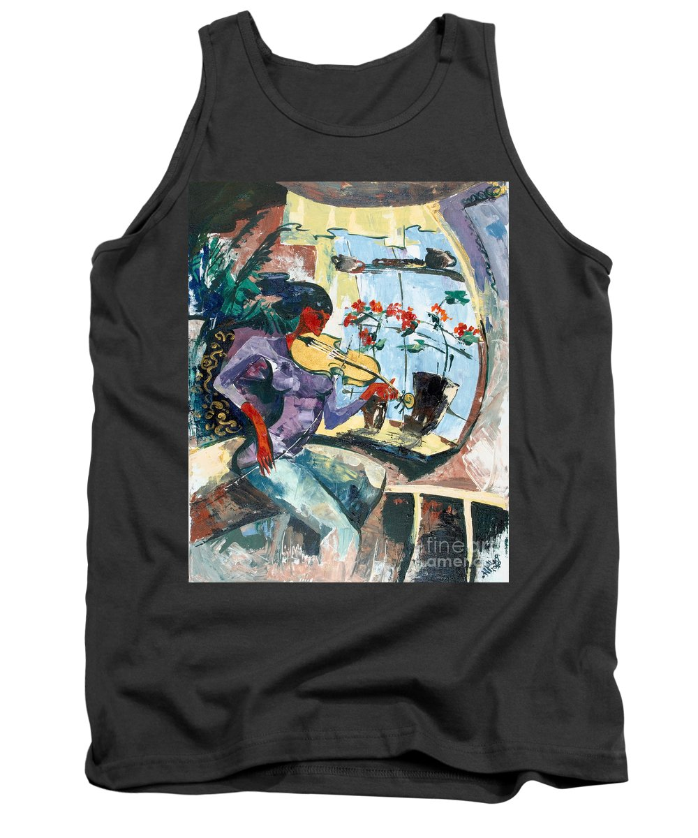 Music Tank Top featuring the painting The Color Of Music by Elisabeta Hermann