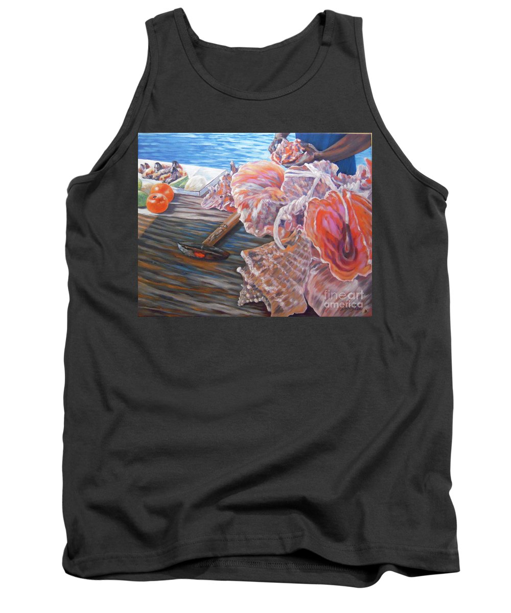 Bahamas Tank Top featuring the painting The Conchman by Danielle Perry