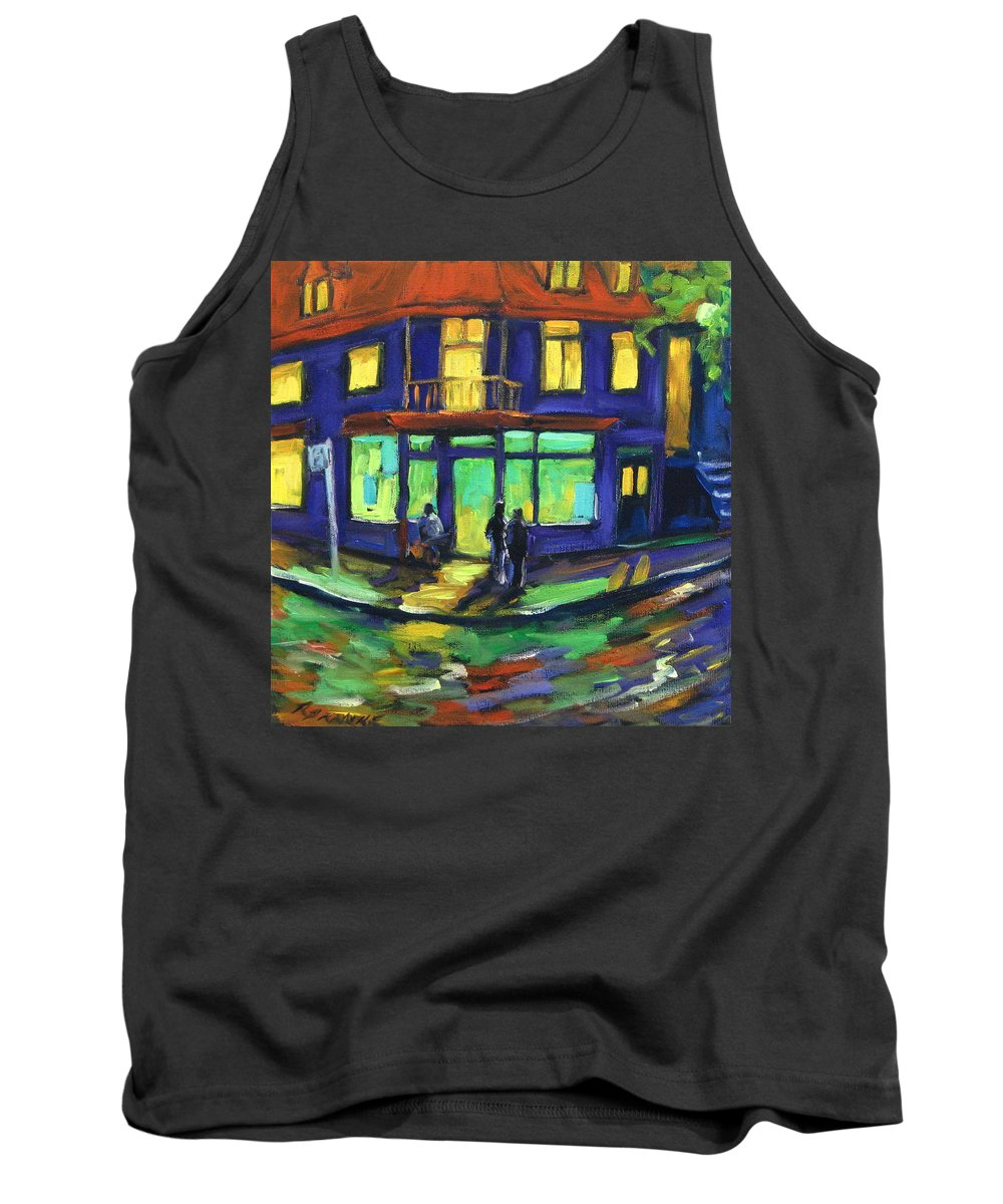 Town Tank Top featuring the painting The Corner Store by Richard T Pranke