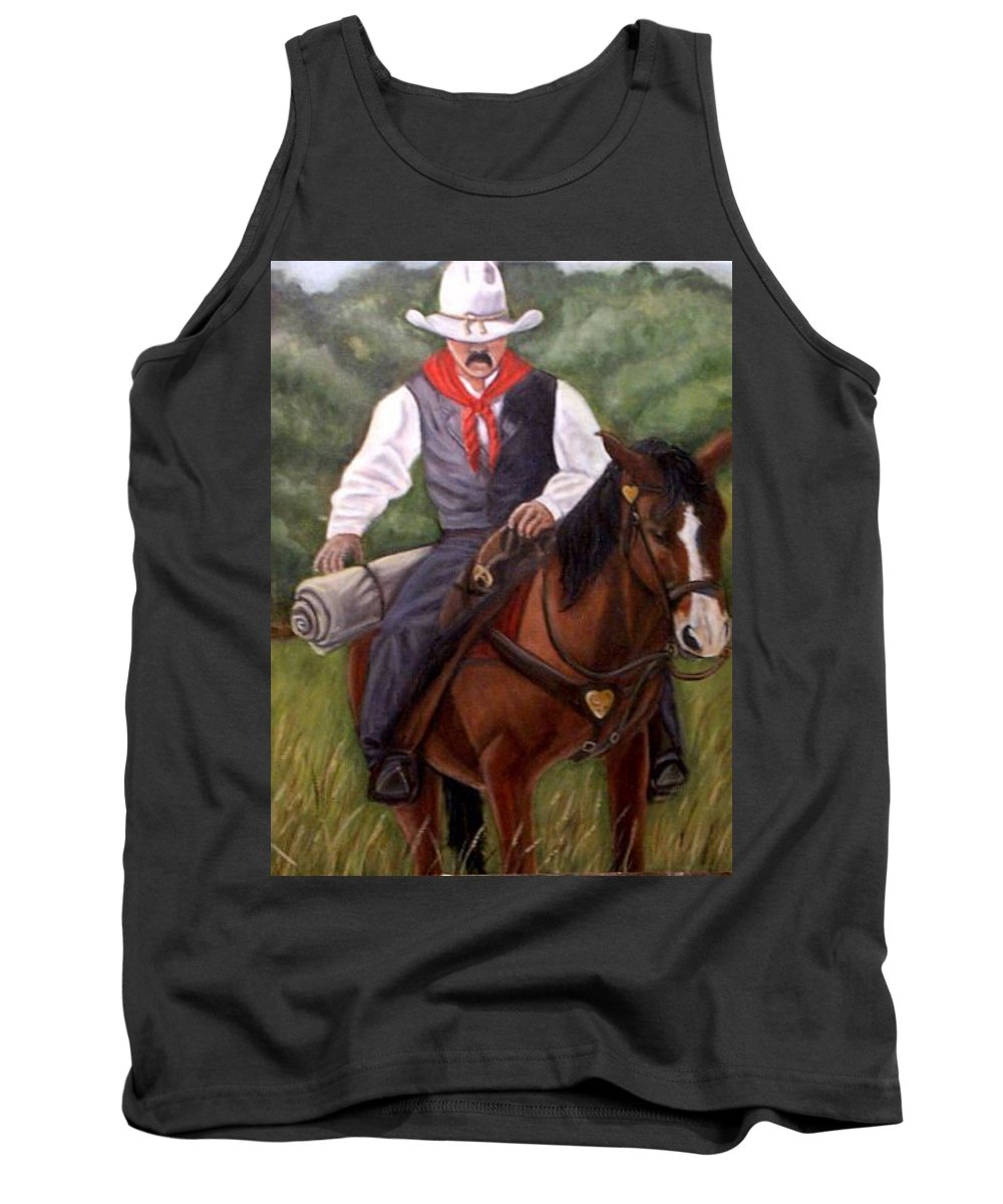 Portrait Tank Top featuring the painting The Cowboy by Toni Berry