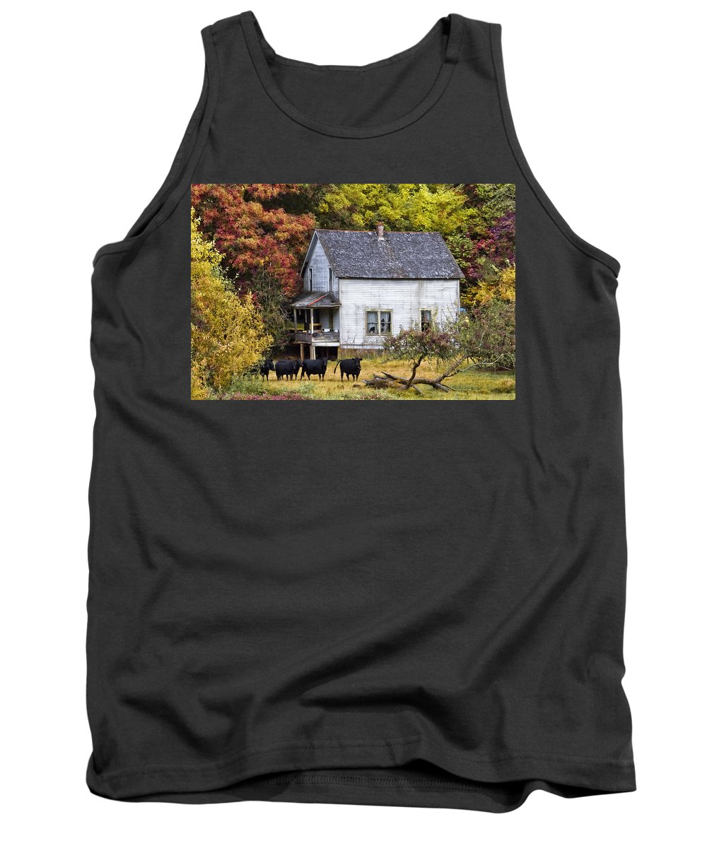 American Tank Top featuring the photograph The Cows Came Home by Debra and Dave Vanderlaan