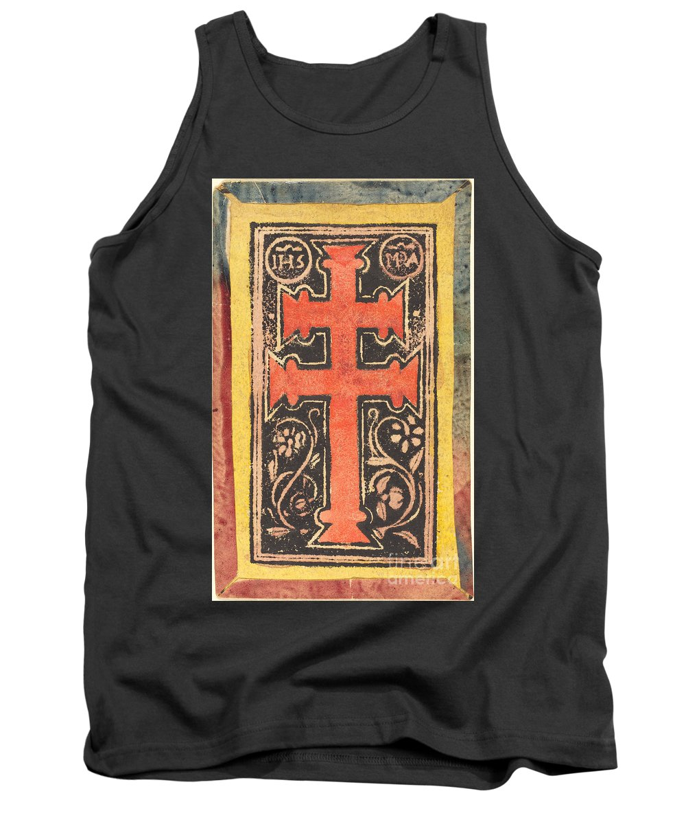 Tank Top featuring the drawing The Cross by German 15th Century