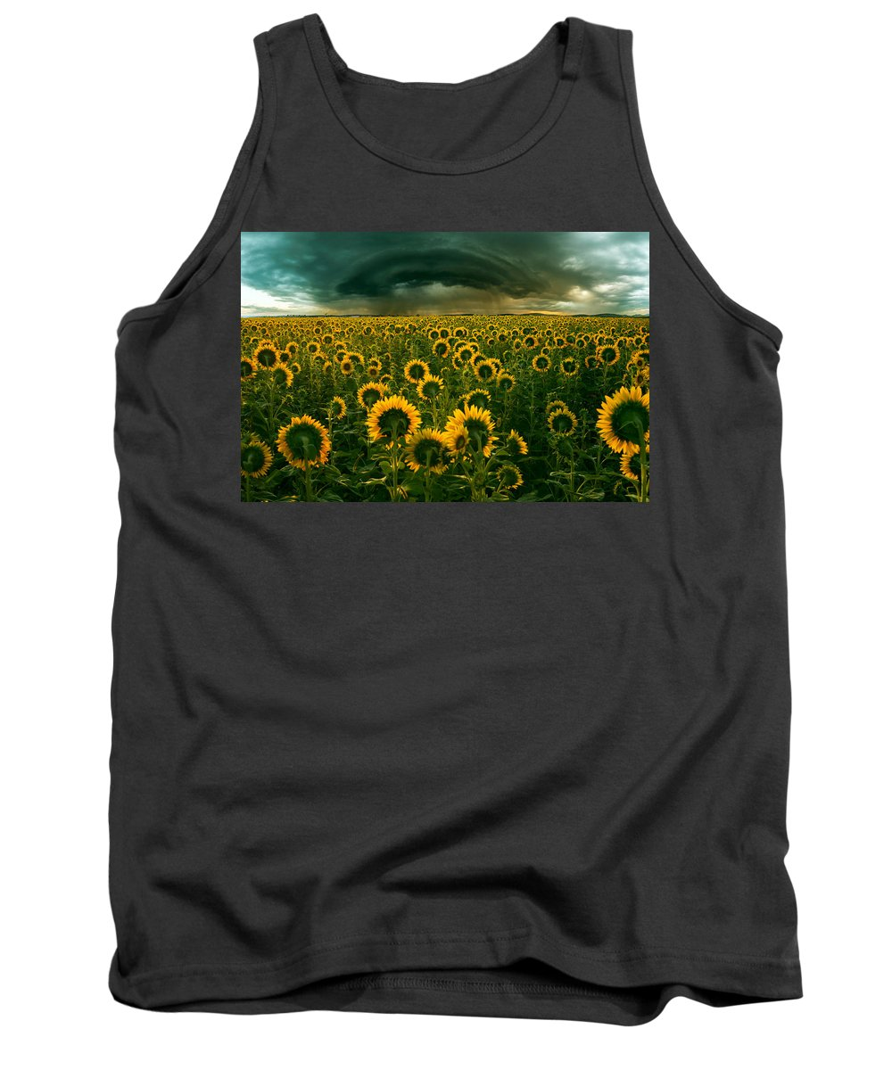 Sunflower Tank Top featuring the photograph The Dark Crown by Adrian Borda