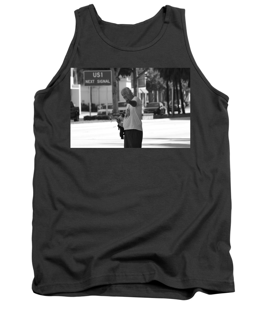 Black And White Tank Top featuring the photograph The Devil Man by Rob Hans