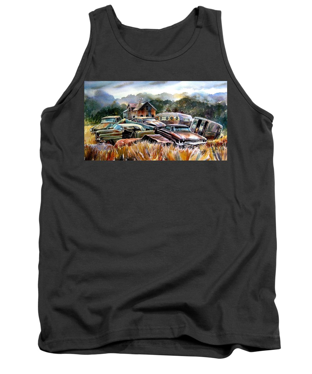 Old Wrecked Cars Tank Top featuring the painting The Donor Cars by Ron Morrison