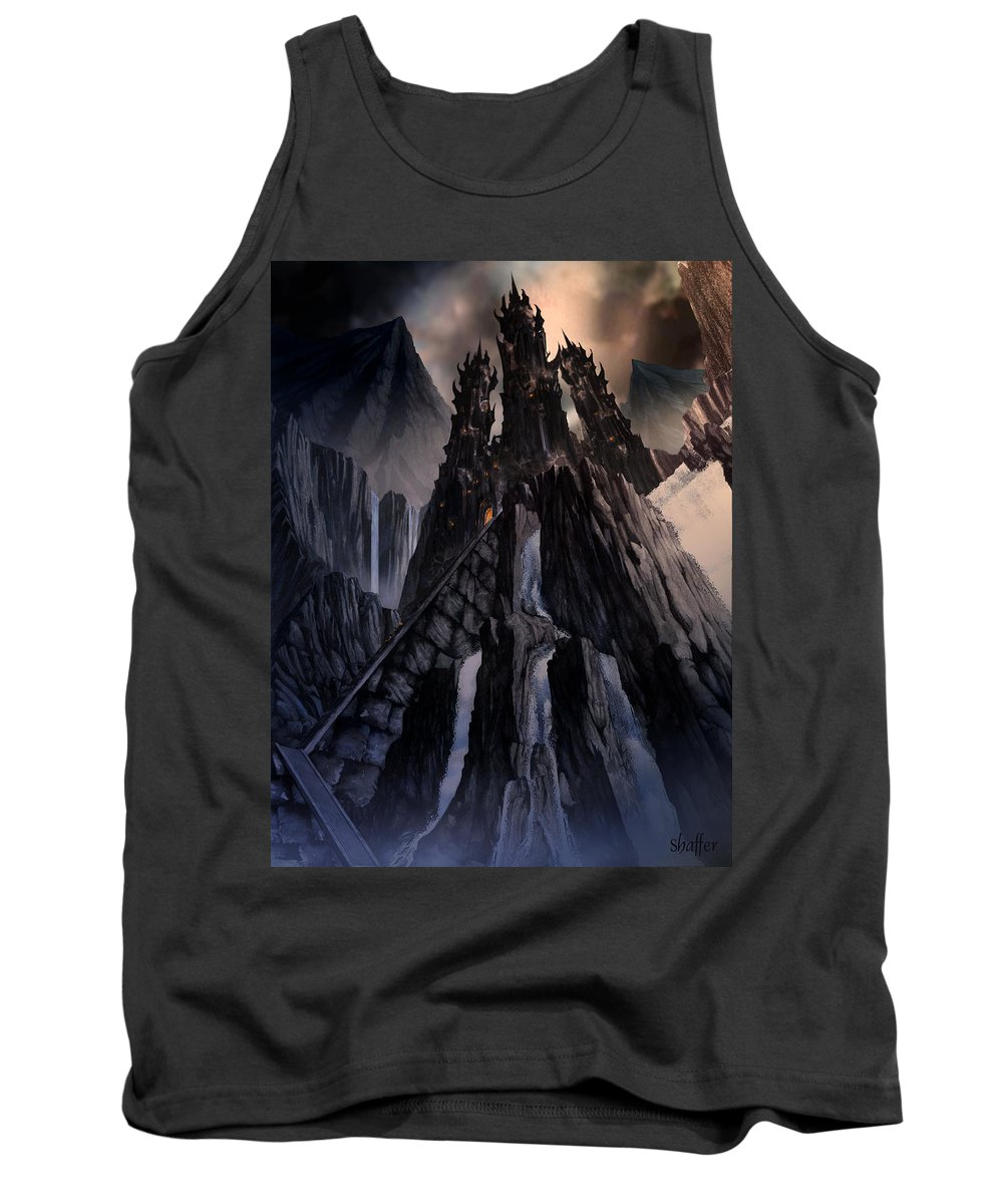 Architectural Tank Top featuring the mixed media The Dragon Gate by Curtiss Shaffer