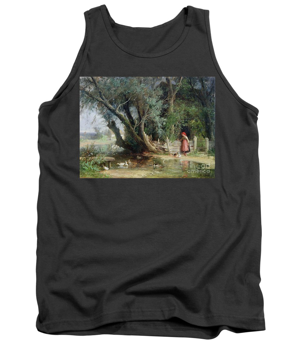 The Duck Pond By Eduard Heinel (1835-95) Tank Top featuring the painting The Duck Pond by Eduard Heinel