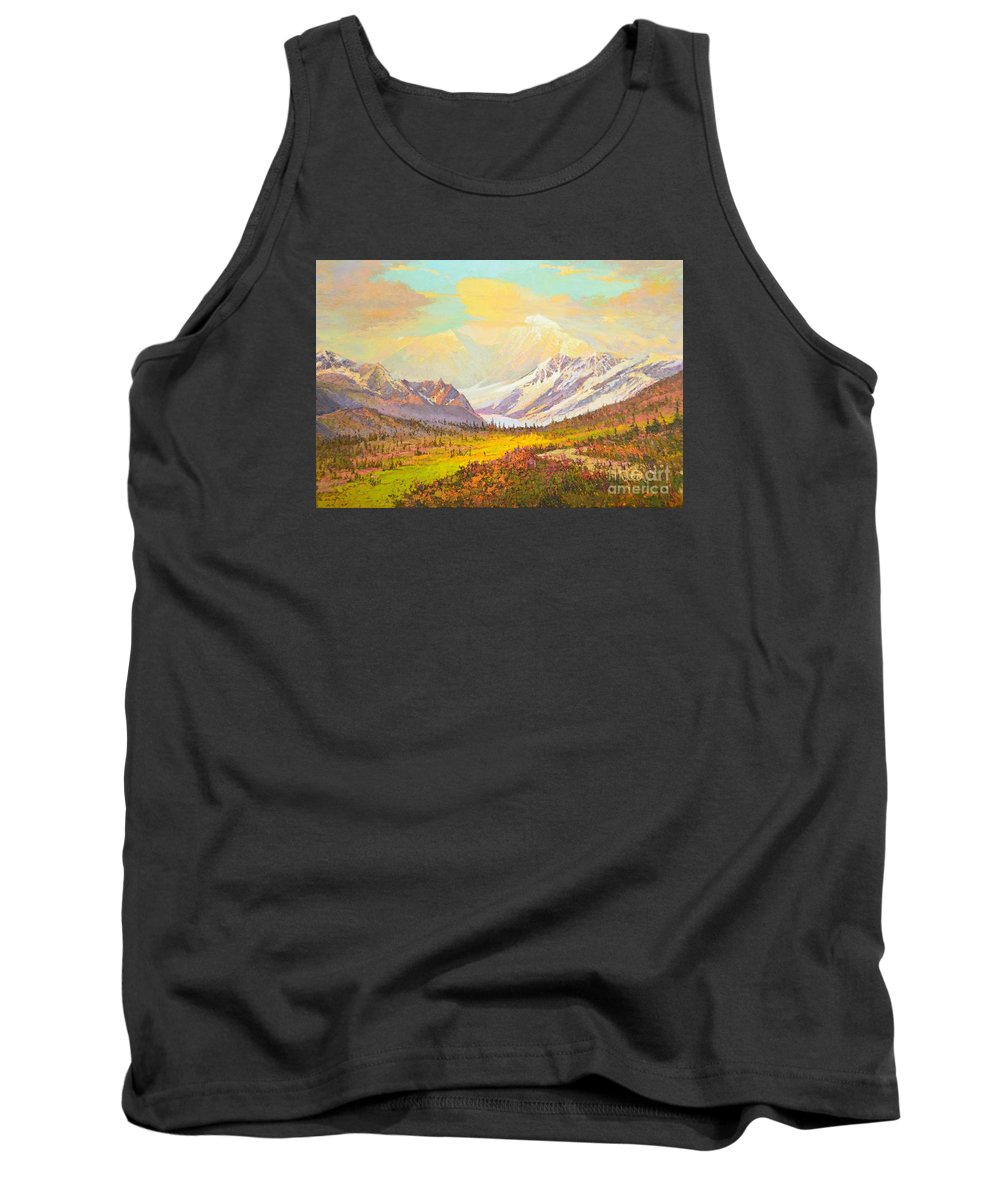 Alaska Route 8 Tank Top featuring the painting The Fall Colors Of Alaska Route 8 No.3 by Yinguo Huang