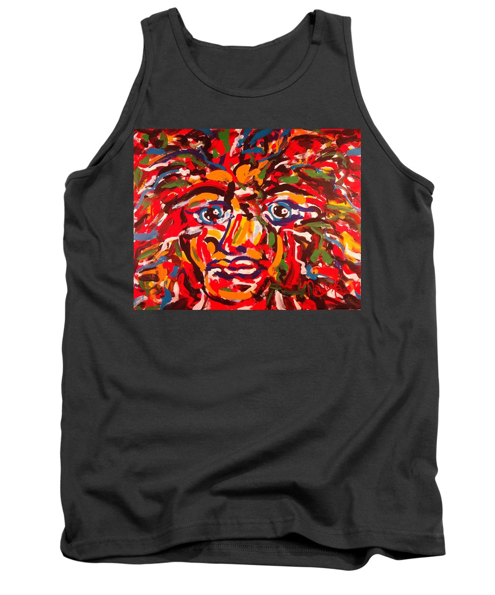 Abstract Tank Top featuring the painting The Fearless Warrior by Natalie Holland