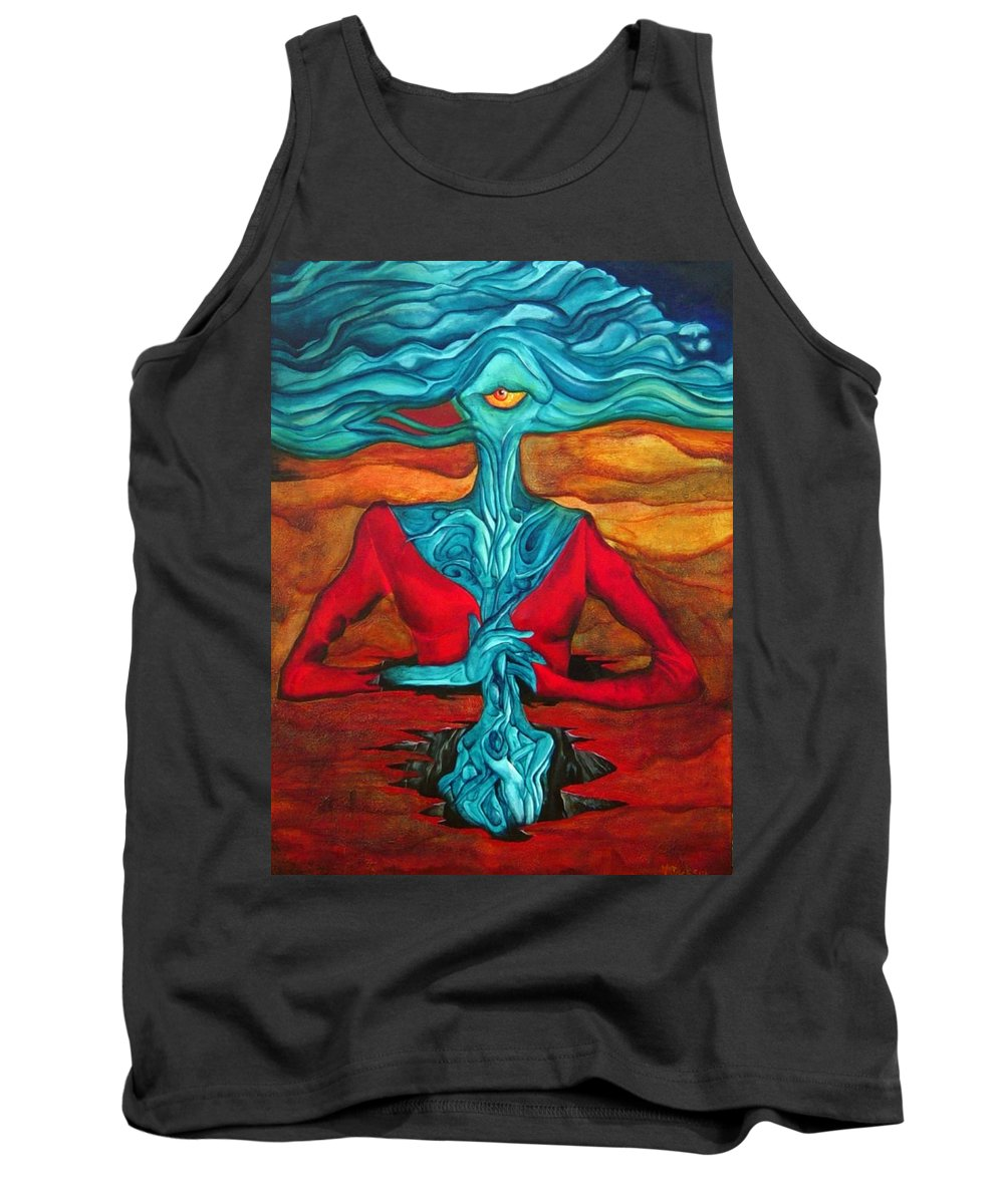 Feast Woman Blue Eye Eat Red Earth Tank Top featuring the painting The Feast by Veronica Jackson
