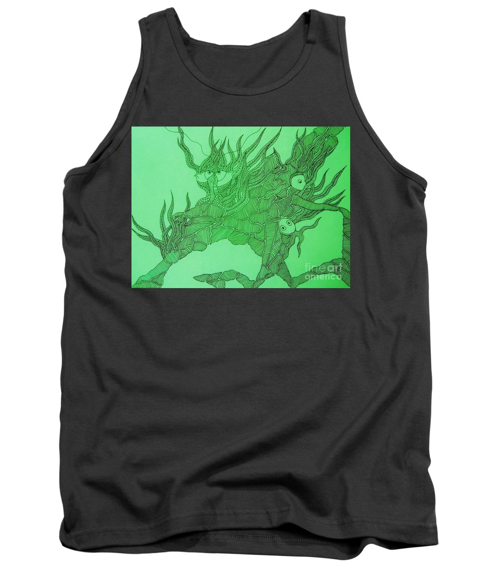 Fish Tank Tank Top featuring the drawing The Fish Tank by Reb Frost