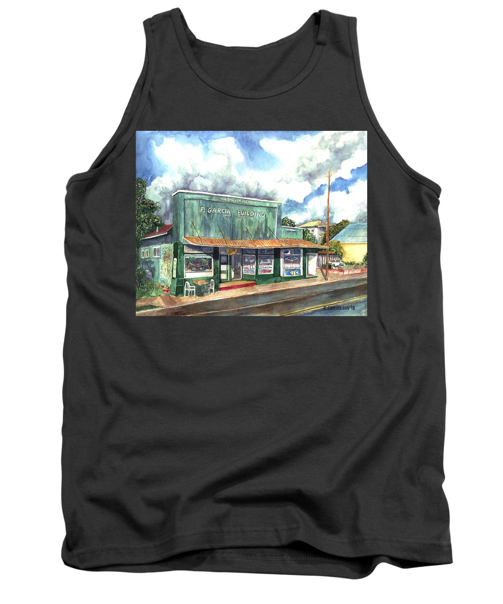 Maui Tank Top featuring the painting The Garcia Building by Eric Samuelson