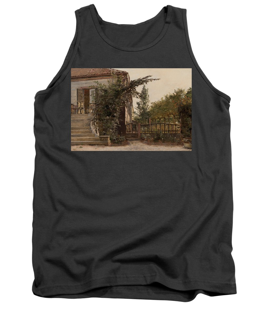 Step Tank Top featuring the painting The Garden Steps by Christen Schjellerup Kobke