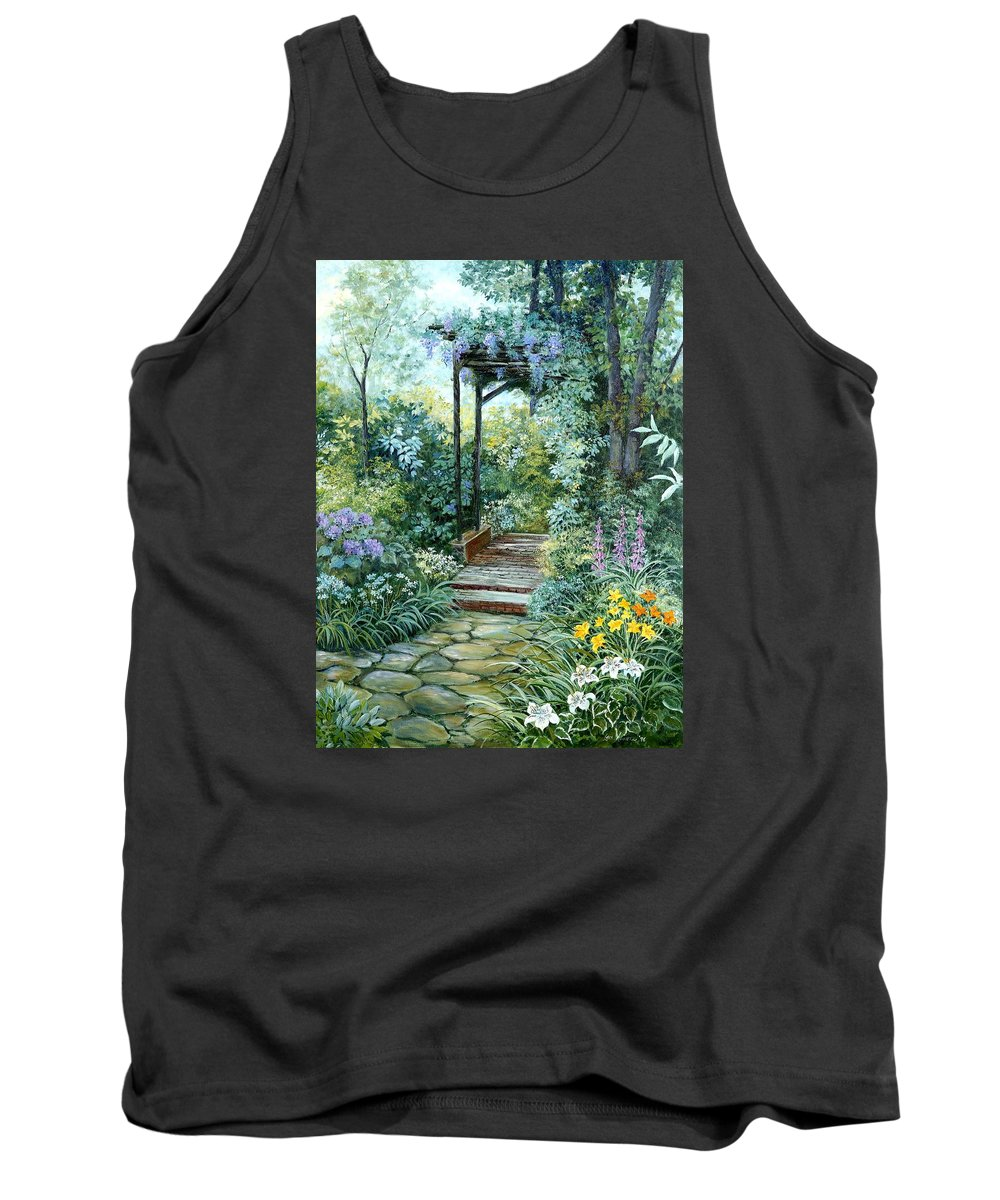 Oil Painting;wisteria;garden Path;lilies;garden;flowers;trellis;trees;stones;pergola;vines; Tank Top featuring the painting The Garden Triptych Right Side by Lois Mountz