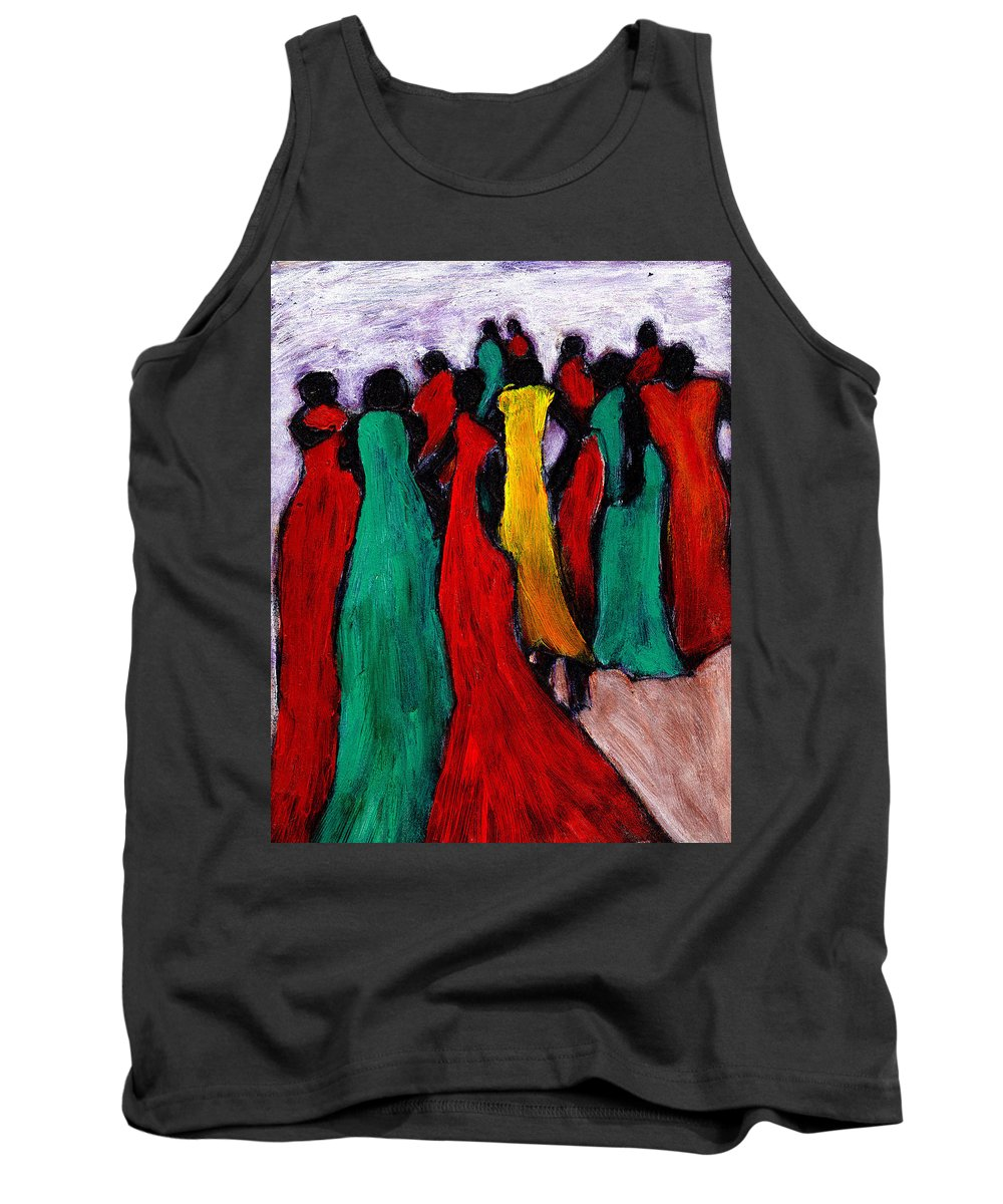 Black Art Tank Top featuring the painting The Gathering by Wayne Potrafka