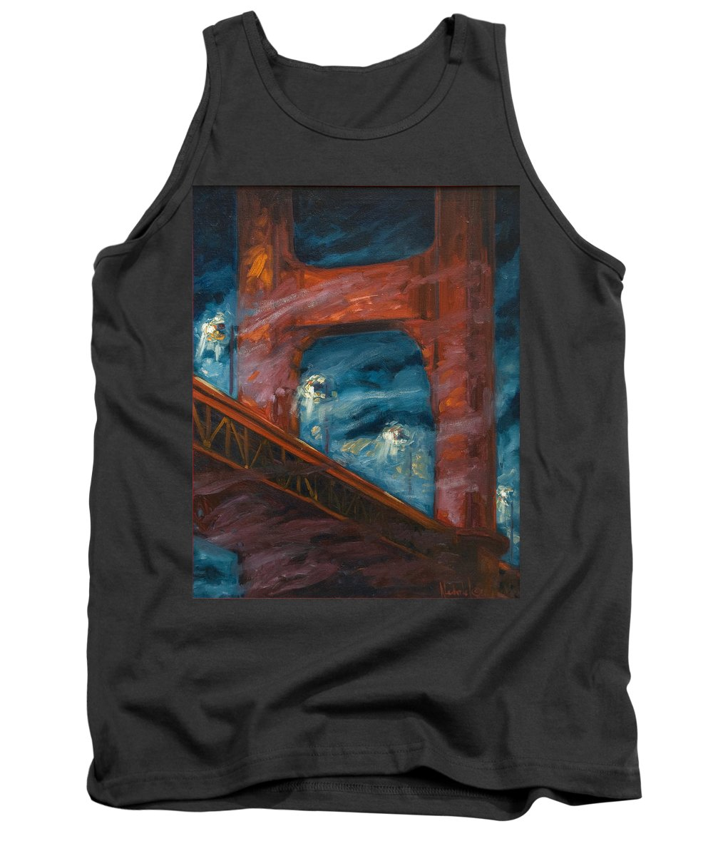 Bridge Tank Top featuring the painting The Golden Gate by Rick Nederlof