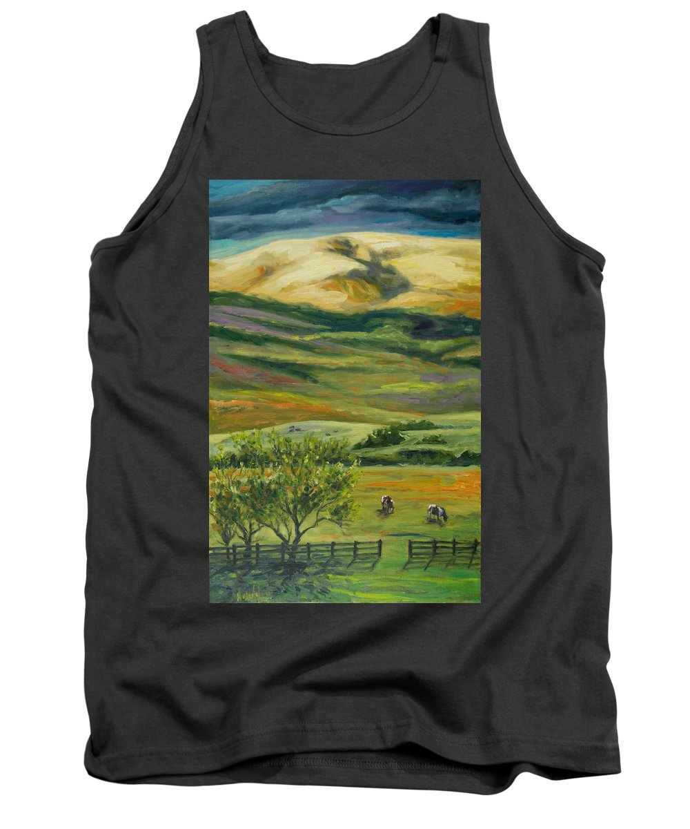 California Hills Tank Top featuring the painting The Grapevine by Rick Nederlof