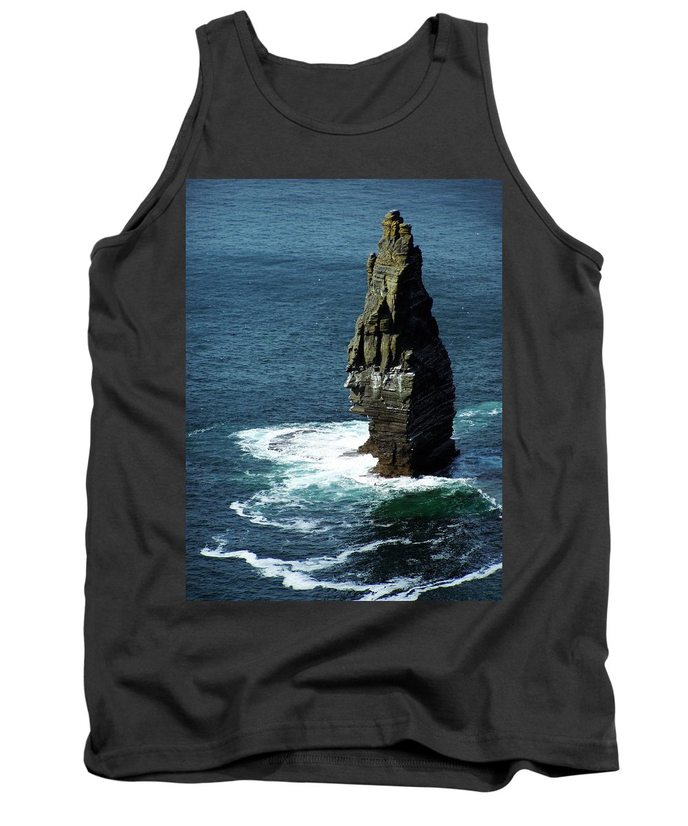 Irish Tank Top featuring the photograph The Great Sea Stack Brananmore Cliffs Of Moher Ireland by Teresa Mucha