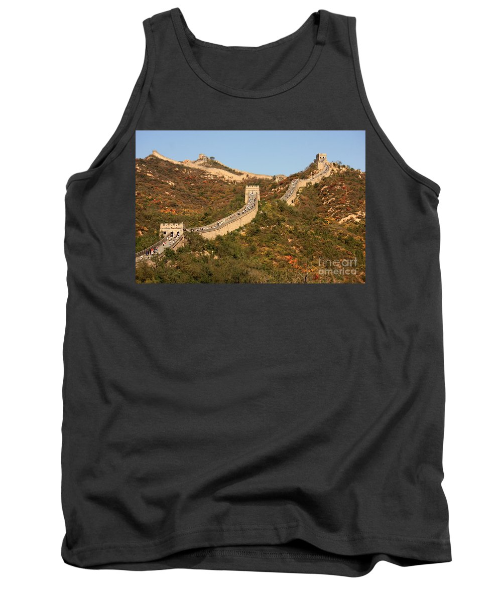 The Great Wall Of China Tank Top featuring the photograph The Great Wall On Beautiful Autumn Day by Carol Groenen