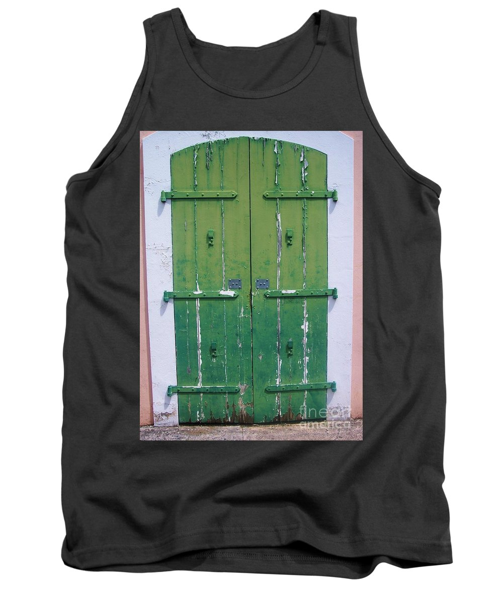 Architecture Tank Top featuring the photograph The Green Door by Debbi Granruth