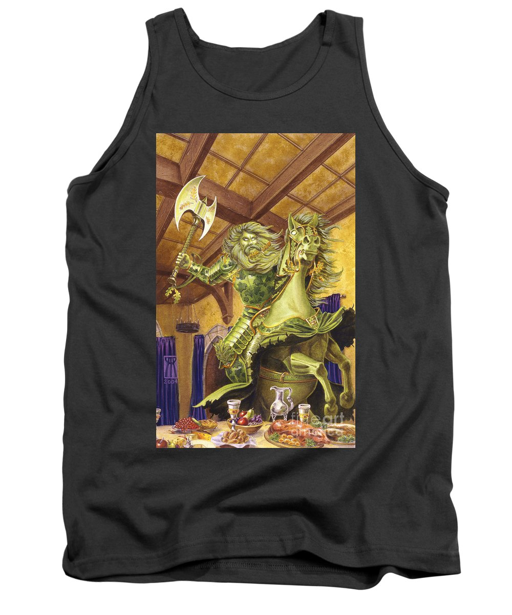 Fine Art Tank Top featuring the painting The Green Knight by Melissa A Benson